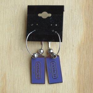 Coach Purple Enamel Hoop Earrings